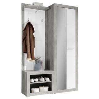 Carryhome ŠATNÍK, sivá, biela, 120/194/37 cm - sivá, biela