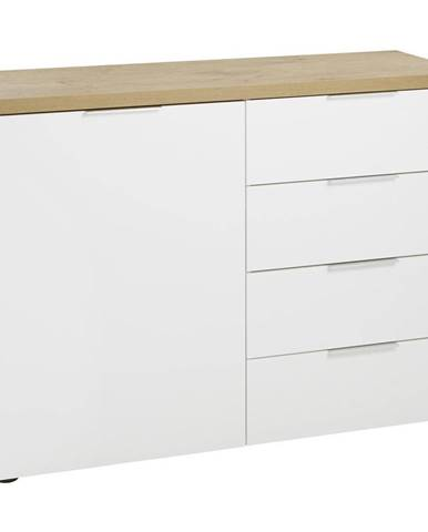 Xora KOMODA, biela, farby dubu, 120/89/43 cm - biela, farby dubu