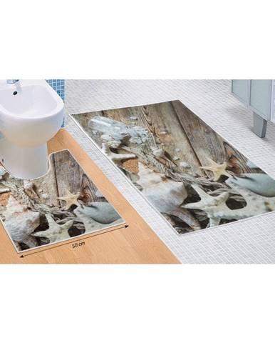 Bellatex Sada kúpeľňových predložiek Morské lastúry 3D, 60 x 100 cm, 50 x 60 cm
