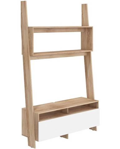 TV stolík Rack Sonoma/Biely Lesk