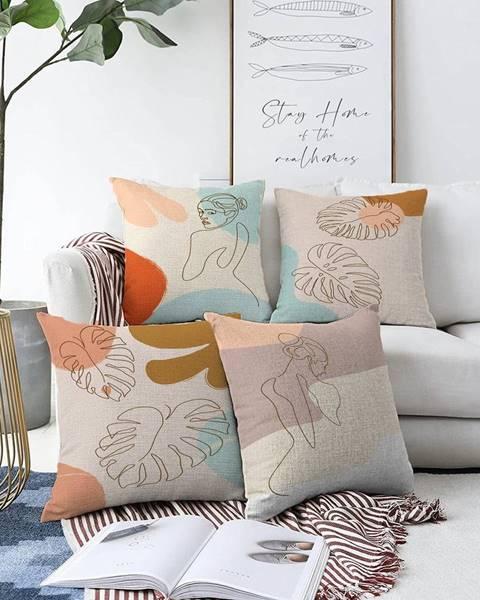 Minimalist Cushion Covers Súprava 4 obliečok na vankúše Minimalist Cushion Covers Feminine, 55 x 55 cm