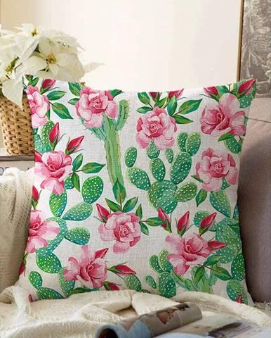 Obliečka na vankúš s prímesou bavlny Minimalist Cushion Covers Blooming Cactus, 55 x 55 cm