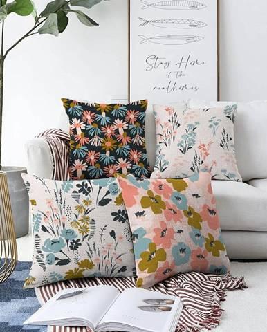 Súprava 4 obliečok na vankúše Minimalist Cushion Covers Blooming, 55 x 55 cm