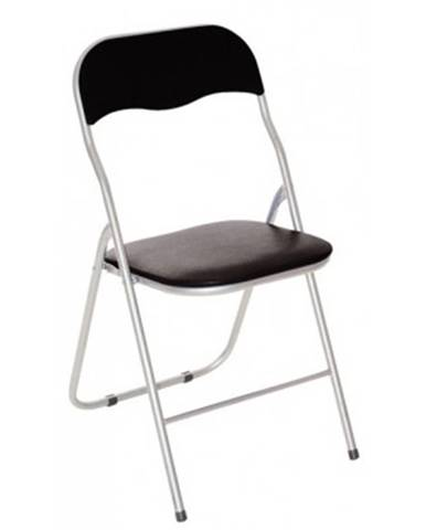 Skladacia stolička Foldus, čierna ekokoža%