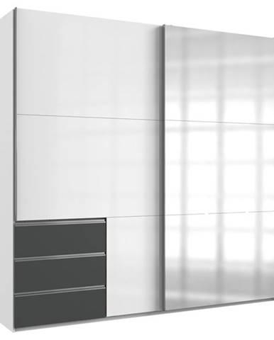 Šatníková skriňa ELIOT biela/grafit, šírka 250 cm, 1 zrkadlo