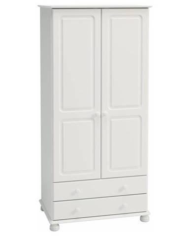 Šatníková skriňa ROCKWOOD biela, 2 zásuvky, 83 cm