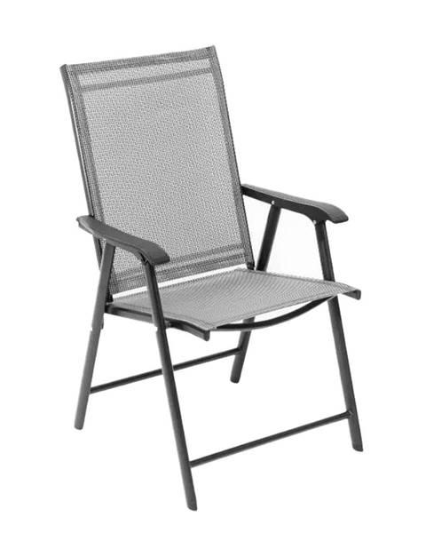 Kondela Skladacia zahradná stolička sivá Adola