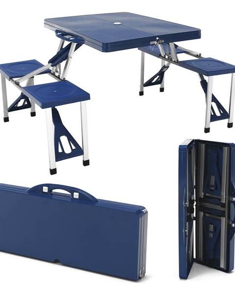 Kondela Kempingový skladací kufríkový set 4-miestny modrý HORT