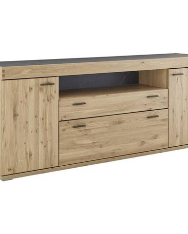 Voleo KOMODA SIDEBOARD, staré drevo, dub, farby dubu, bridlicová, 195/80/44 cm - farby dubu, bridlicová