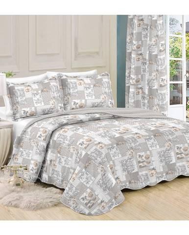 Přehoz na posteľ Patchwork Ina, 230 x 250 cm, 2 ks 50 x 70 cm, 230 x 250 cm