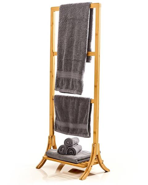 Blumfeldt Blumfeldt Vešiak uteráky, 3 tyčky uteráky, 40 x 104,5 x 27 cm, rebríkový dizajn, bambus