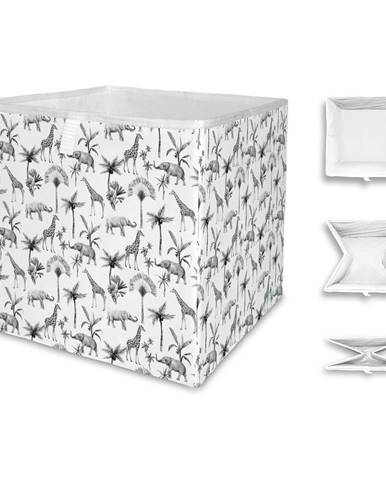 Bielo-sivý úložný box z mikrovlákna Butter Kings Safari Animals, 32 l