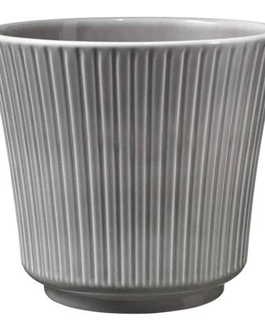 Sivý keramický kvetináč Big pots Gloss, ø 12 cm