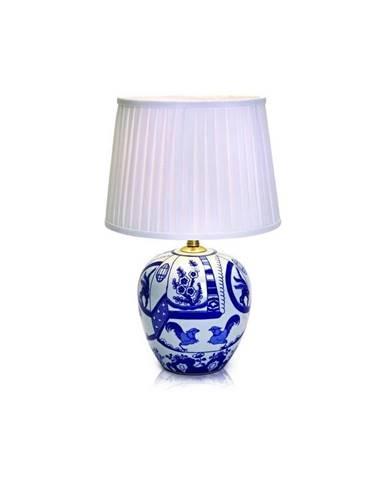 Modro-biela stolová lampa Markslöjd Goteborg, výška 48 cm