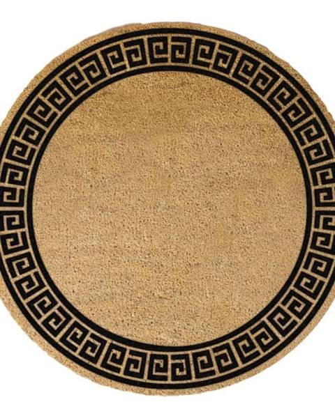 Artsy Doormats Čierna okrúhla rohožka z prírodného kokosového vlákna Artsy Doormats Greek Border, ⌀ 70 cm