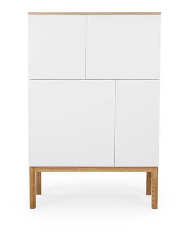 Biela štvordverová skrinka s doskou v dekore dubového dreva Tenzo Patch, 92 x 138 cm