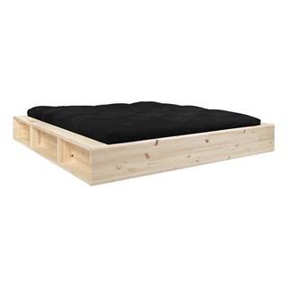 Dvojlôžková posteľ z masívneho dreva s úložným priestorom a čiernym futonom Double Latex Karup Design, 160 x 200 cm
