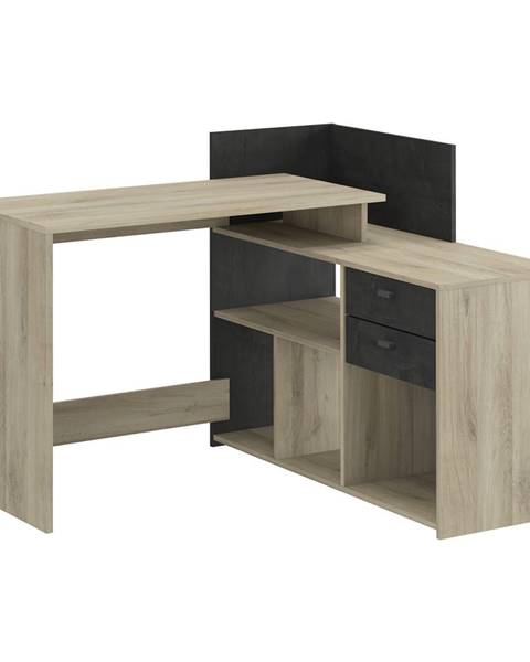 IDEA Nábytok Písací stôl rohový VISTA dub/čierny antik