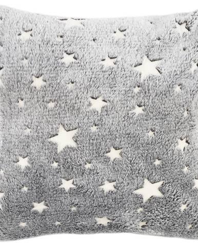 4Home Obliečka na vankúšik Stars svietiaca sivá, 40 x 40 cm