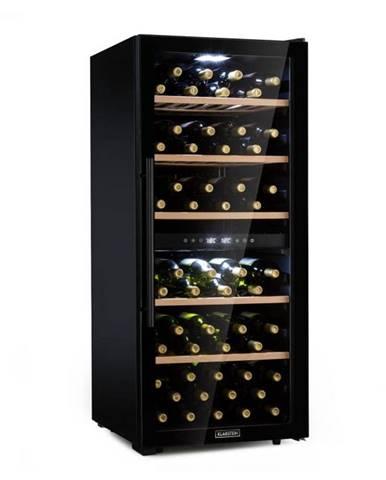 Klarstein Barossa 102D, vinotéka, 2 zóny, 102 fliaš, dotykový LED displej, čierna