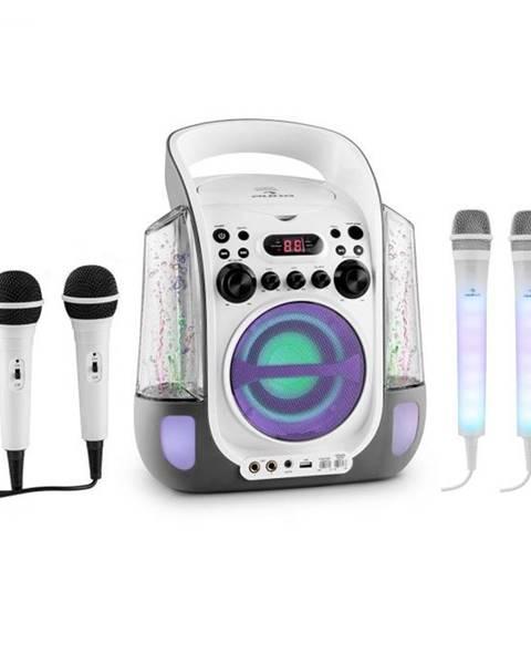 Auna Auna Kara Liquida sivá farba + Dazzl mikrofónová sada, karaoke zariadenie, mikrofón, LED osvetlenie