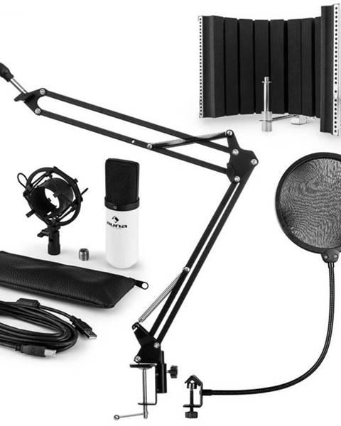 Auna Auna MIC-900WH USB mikrofónová sada V5 kondenzátorový mikrofón, pop filter, mikrofónový absorbčný panel, mikrofónové rameno biela farba