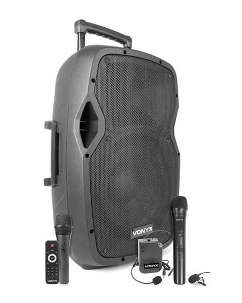"""Vonyx Vonyx AP1200PA, mobilný PA systém, 12"""" woofer, 600 W, BT/USB/SD/AUX, 3 x mikrofón, akumulátor, vozík"""