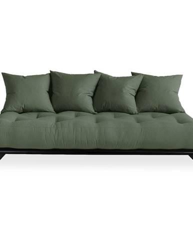 Pohovka so zeleným poťahom Karup Design Senza Black/Olive Green