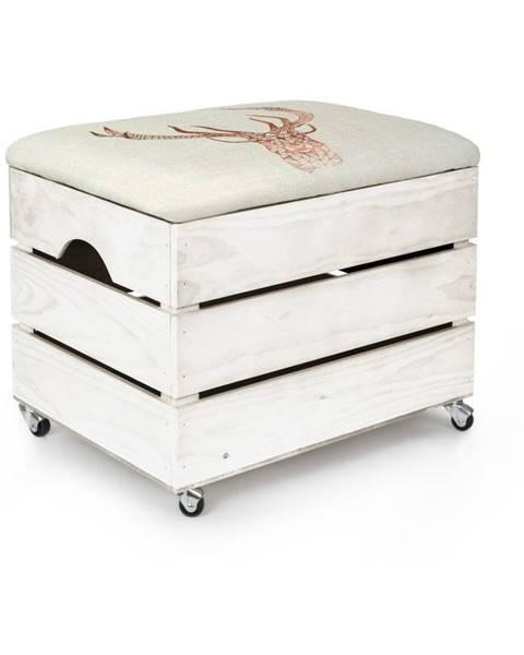 Really Nice Things Biely úložný box so sedadlom Really Nice Things Deer, 50×35 cm