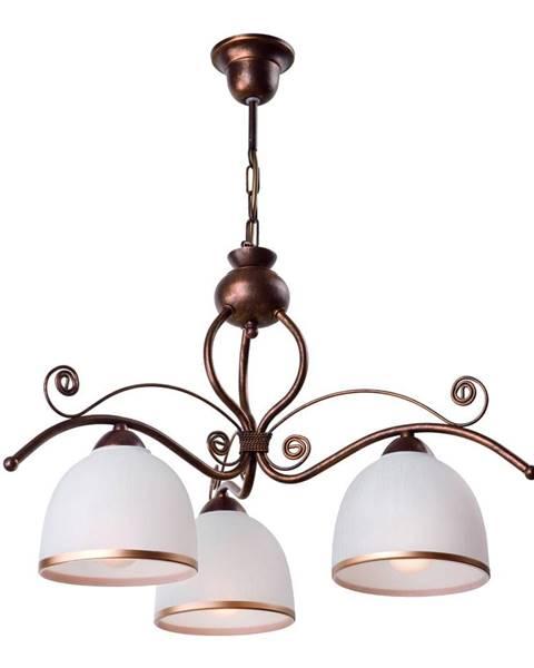 LAMKUR Bielo-hnedé závesné svietidlo pre 3 žiarovky Lamkur Retro