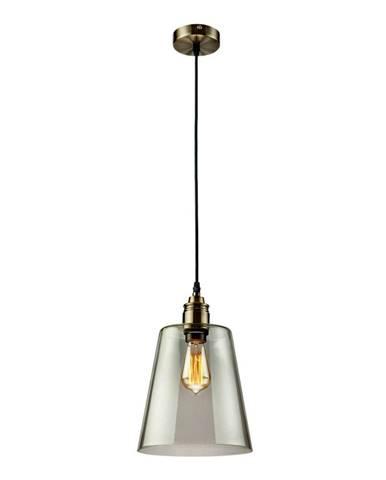 Sklenené závesné svietidlo v sivej farbe Lamkur Bucket