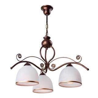 Bielo-hnedé závesné svietidlo pre 3 žiarovky Lamkur Retro