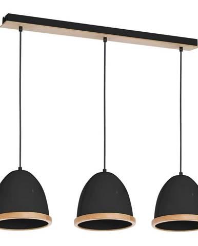 Čierne závesné svietidlo s drevenými detailmi Homemania Studio Tres