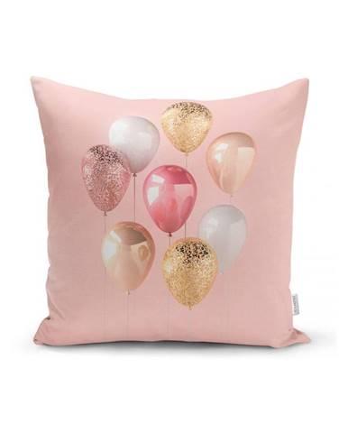 Obliečka na vankúš Minimalist Cushion Covers Balloons With Pink BG, 45 x 45 cm