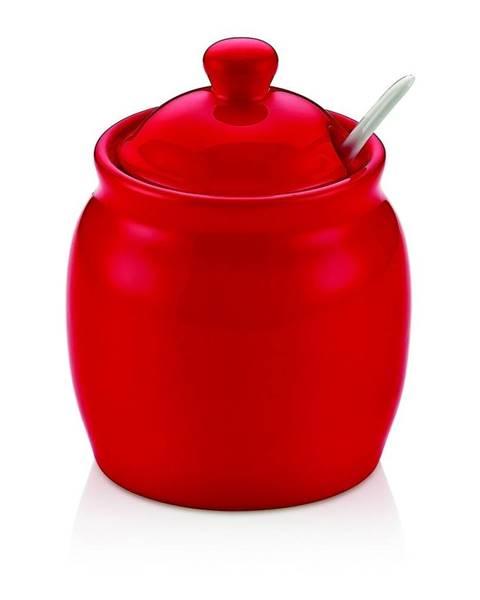 Noble Life Červená porcelánová dóza na cukor s vekom Vivianos