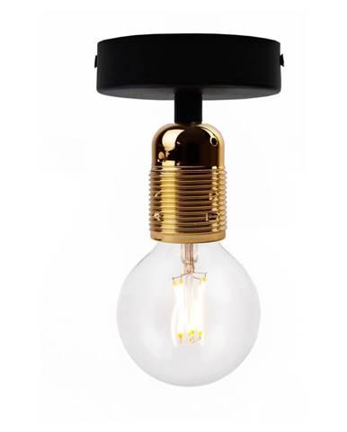 Čierne stropné svietidlo so zlatou objímkou Bulb Attack Uno Basic