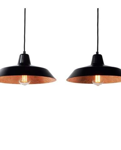 Čierne dvojramenné závesné svietidlo s detailmi v medenej farbe Bulb Attack Cinco