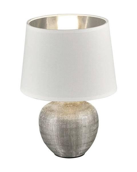 Trio Biela stolová lampa z keramiky a tkaniny Trio Luxor, výška 26 cm