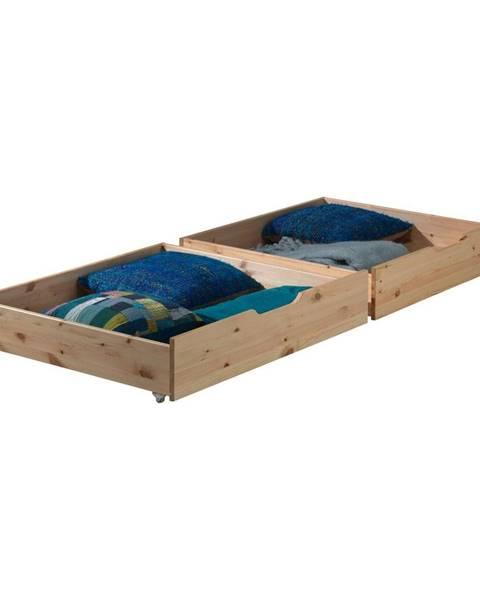 Vipack Sada 2 prírodných úložných boxov pod posteľ Vipack Pino