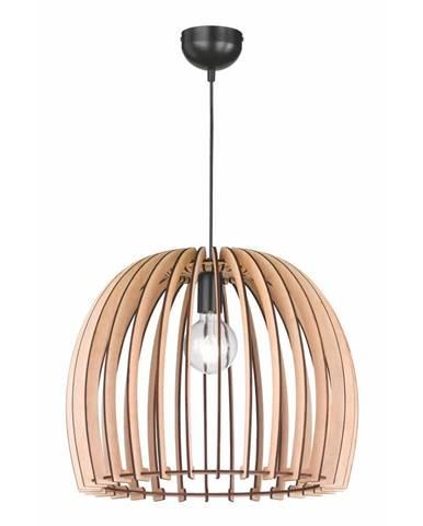 Krémovobéžové závesné svietidlo z dreva a kovu Trio Wood, výška 150 cm
