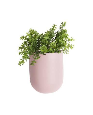 Svetloružový nástenný keramický kvetináč PT LIVING Oval