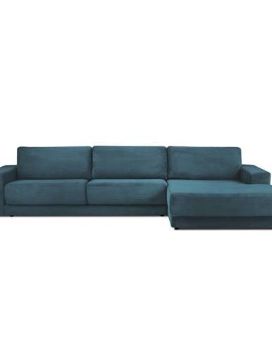 Modrá menčestrová XXL rozkladacia rohová pohovka Milo Casa Donatella, pravý roh