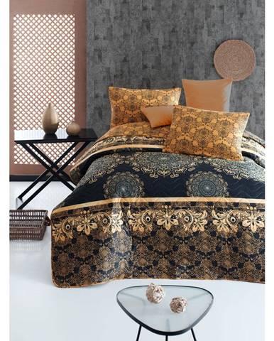 Set prešívaného prehozu a 2 obliečok na vankúše Eponj Home Şehri-Ala Gold, 200 x 220 cm