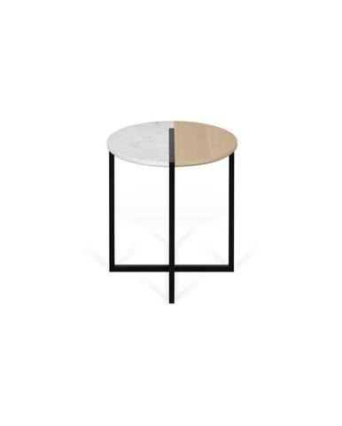 Odkladací stolík s doskou z dubového dreva a mramoru TemaHome Sonata, ø 50 cm