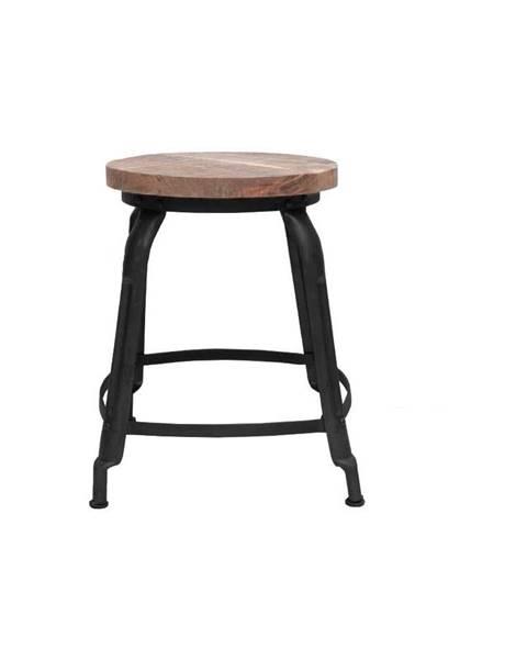 LABEL51 Čierna stolička so sedákom z mangového dreva LABEL51 Delhi