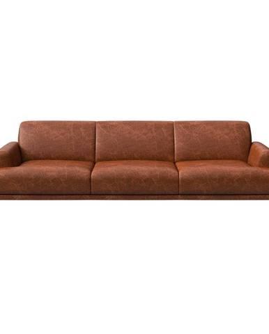 Červenohnedá kožená pohovka MESONICA Puzo, 240 cm