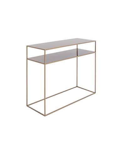 Konzolový kovový stôl v zlatej farbe s policou Custom Form Tensio, 100 x 35 cm