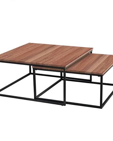 Set dvoch konferenčných stolíkov orech/čierna KASTLER TYP 1