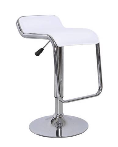 Barová stolička ekokoža biela/chróm ILANA NEW
