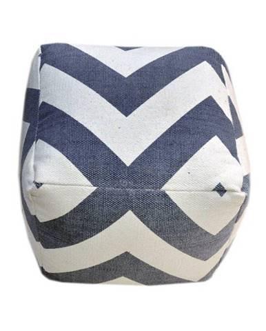 Taburet bavlna sivá/modrá/vzor NOVEL